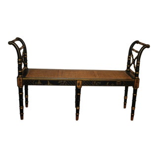 Vintage 20th Century Faux Bamboo Chinoiserie Painted Ebony Bench Cane Seat For Sale