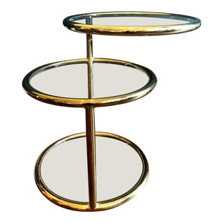 Vintage 1970's Bright Brass and Glass 3-Tier Swivel Side Table For Sale