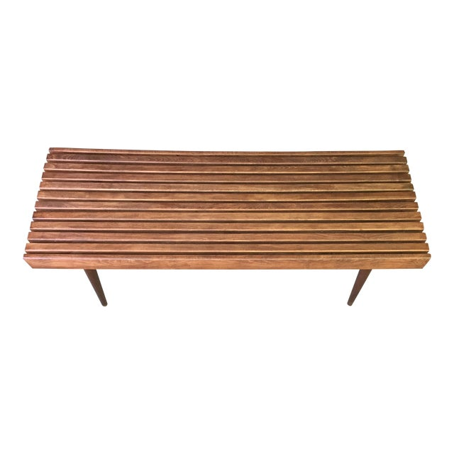 Mid-Century Slat Bench - Image 1 of 7