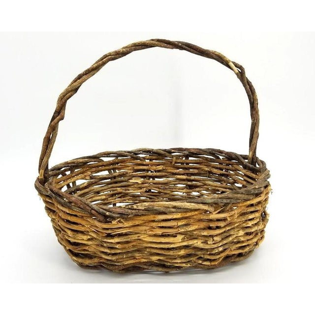 American Vintage Rustic Willow Woven Branch Twig Basket For Sale - Image 3 of 9