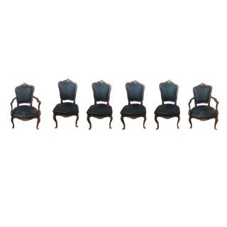 Bronze Mounted Louis XV Style Dining Chairs in Black Leather - Set of 6 For Sale