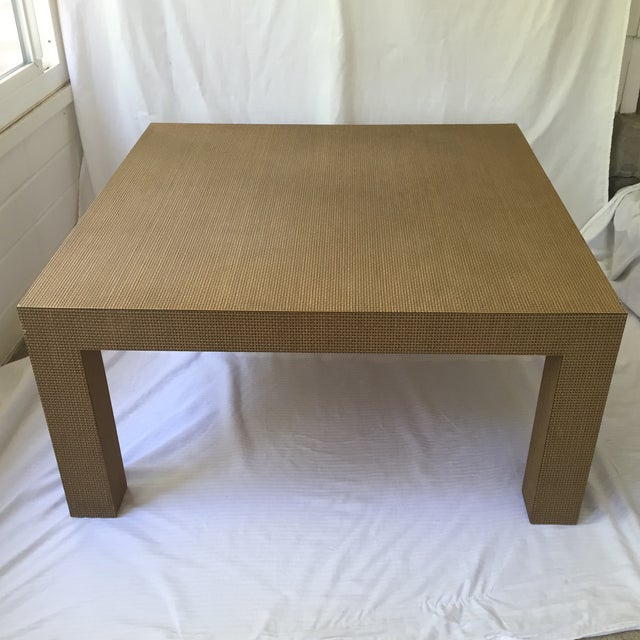 Modern Woven Parsons Coffee Table For Sale - Image 3 of 7