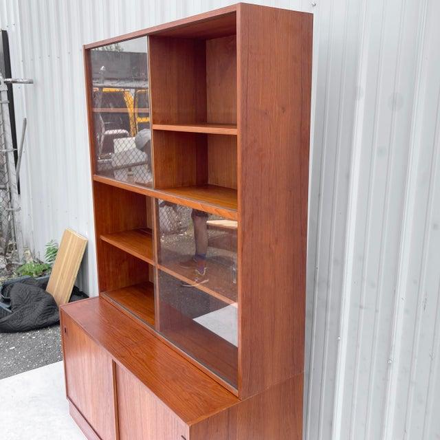 Wood Mid-Century Teak Bookshelf With Cabinet For Sale - Image 7 of 13
