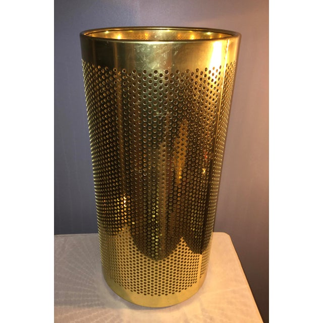 Brass 20th Century Italian Brass Wastebasket or Trash Can For Sale - Image 7 of 7