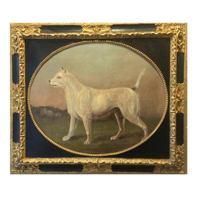 19th Century Antique Dog Portrait Painting For Sale