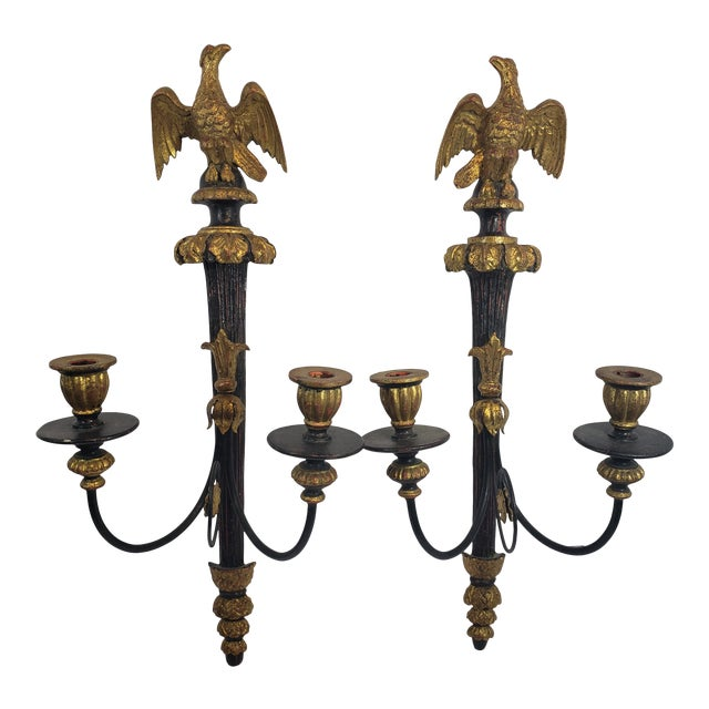 Antique Giltwood Wall Sconce Eagle Candelabras - a Pair For Sale