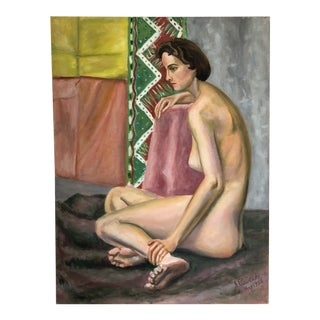 Mid Century Nude Painting 1956 For Sale