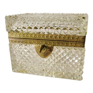 1980s Vintage Baccarat Crystal Jewelry Box For Sale