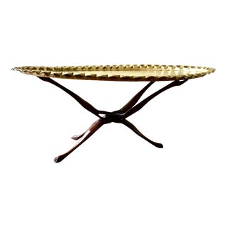 Moroccan Brass Tray Table For Sale