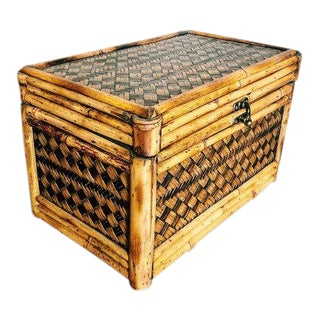 20th Century Boho Chic Bamboo + Rattan Storage Trunk For Sale