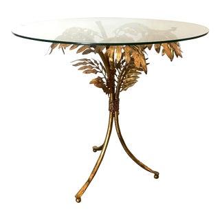 1960s Hollywood Regency Tole Palm Leaf Side Table For Sale