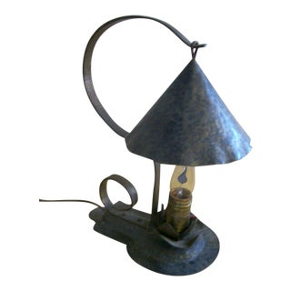 Vintage Arts & Crafts Period Hammered Metal Table Lamp