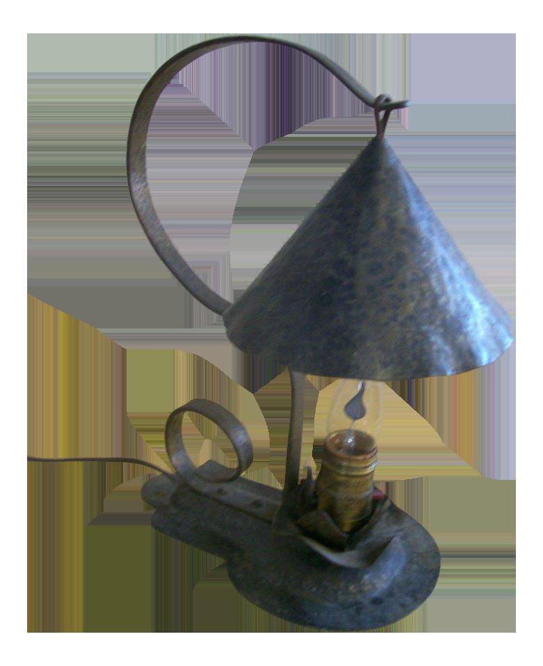Vintage Arts U0026 Crafts Period Hammered Metal Table Lamp
