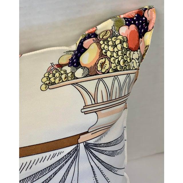 """Hermès of Paris """"A La Gloire De La Cuisine Française"""" Silk Scarf Pillow For Sale - Image 11 of 12"""