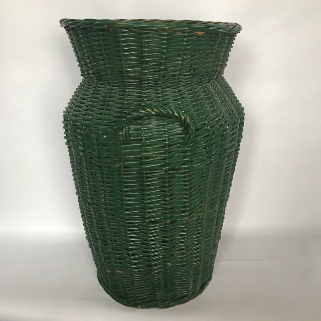 African Large Urn Shaped Wicker Basket For Sale - Image 3 of 11
