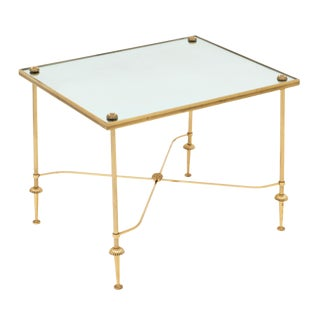 Vintage Brass and Mirror Side Table For Sale