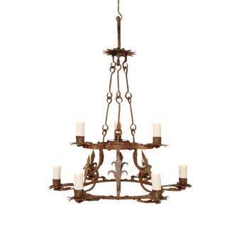 Forged Iron Two-Tier Chandelier For Sale