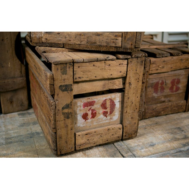 French Primitive Hand-Made French Crates with Stenciled Numbers, circa 1900 For Sale - Image 3 of 5