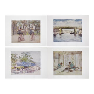1901 Original Lithographs of Japan - Set of 4