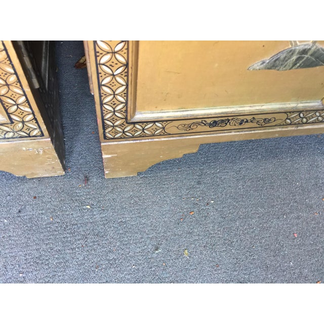 Pair Hollywood Regency Chinese Chinoiserie Chests With Hardstone Decoration For Sale In San Francisco - Image 6 of 11