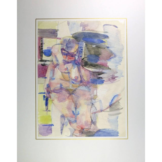 French watercolor painting of abstract nude figure, circa 1990. Original artwork on paper displayed on a white mat with a...