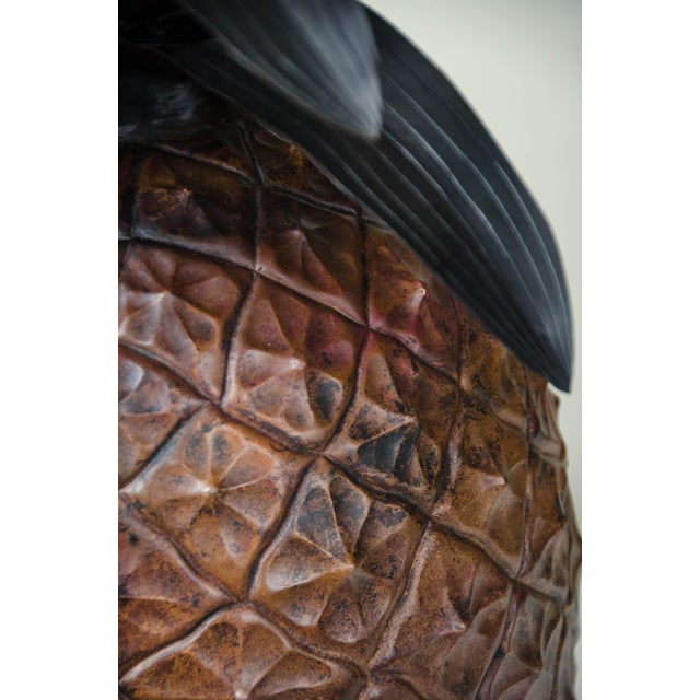 Antique Copper Hand Repoussé Pineapple by Robert Kuo, Limited Edition For Sale In Los Angeles - Image 6 of 8
