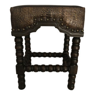 Rustic Ranch Bar Stool With Brown Leather & Crocodile Embossed For Sale