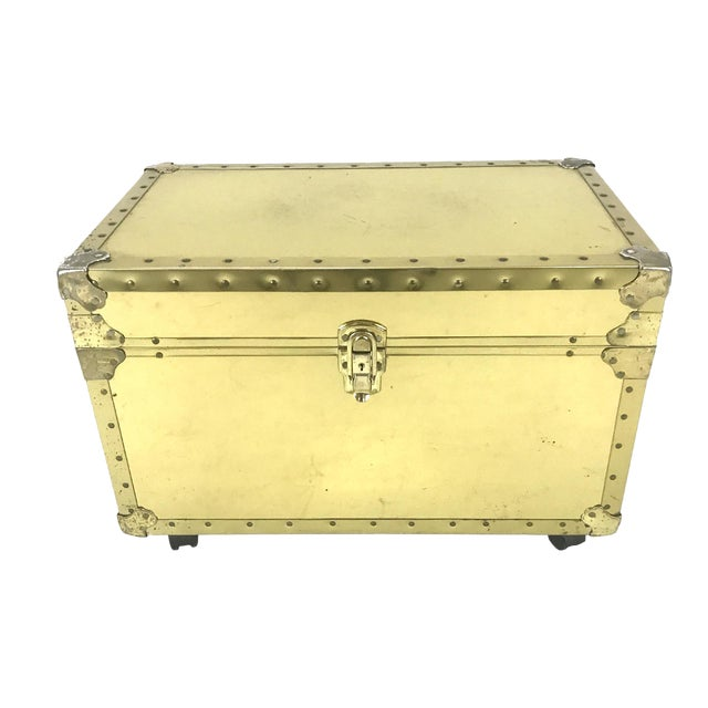 Vintage Riveted Brass Trunk - Image 1 of 8