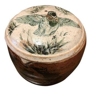 Vintage Folk Art Hand Painted Pottery Jar
