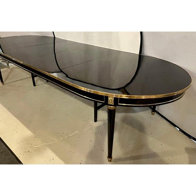 Bronze Maison Jansen Ebony Dining Table, Louis XVI Style W Bronze Mounts & Three Leaves For Sale - Image 8 of 13