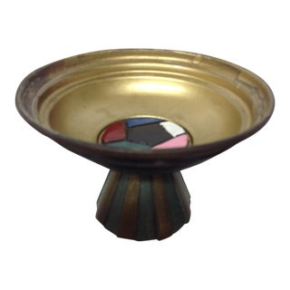 Mid Century Israeli Enameled Brass Footed Dish For Sale