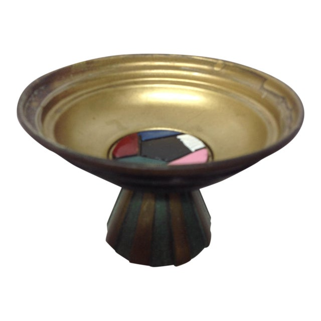 Mid-Century Israeli Enameled Brass Footed Dish For Sale