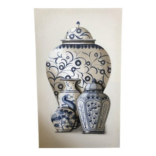 "Chinese Blue Porcelain Vases - Original Painting by Vitorio Splendore (36""x60"") For Sale"
