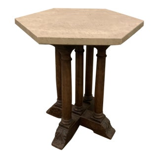 1970s Travertine Top Side Table For Sale