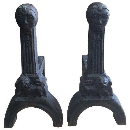 Metal Early 20th Century Figural Cast Iron Andirons - a Pair For Sale - Image 7 of 7