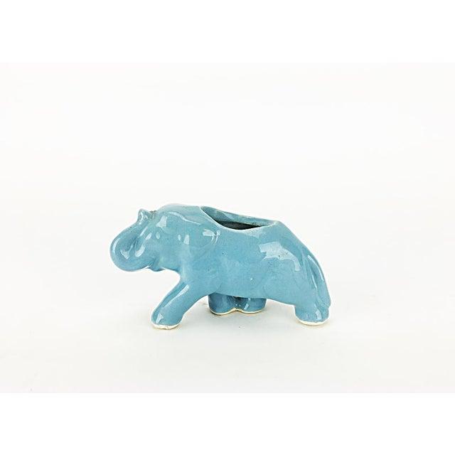Vintage Blue Ceramic Elephant Planter - Image 4 of 6