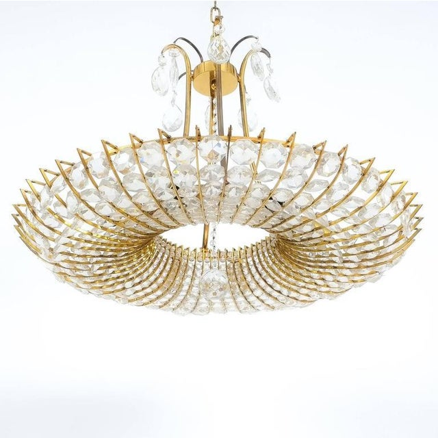J. & L. Lobmeyr Beautiful and Large, Brass and Glass Chandelier in the style of Lobmeyr For Sale - Image 4 of 4