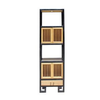Oriental Black Rim Natural Wood Narrow Storage Display Bookcase Cabinet For Sale