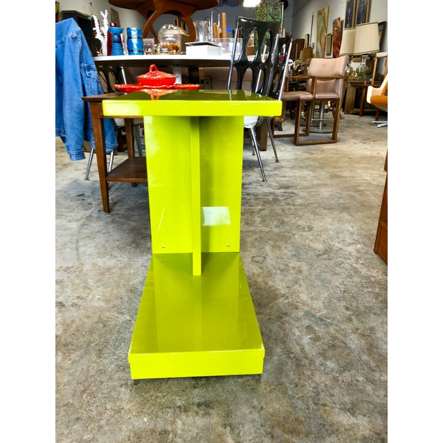 Modern Modern Neon Green Rolling C Table For Sale - Image 3 of 9