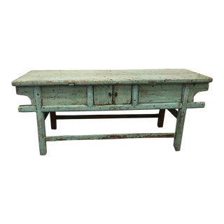 19th Century Turquoise Asian Sideboard For Sale