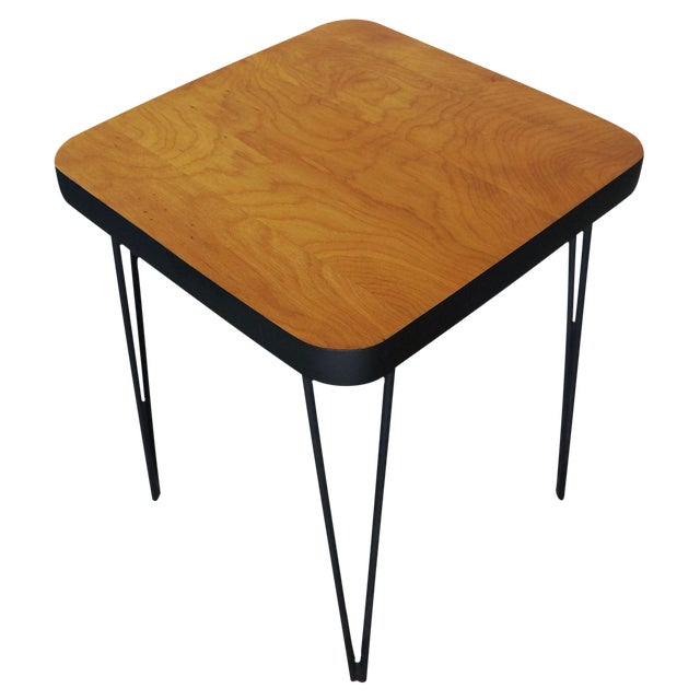 Mid-Century Hairpin Side Table For Sale