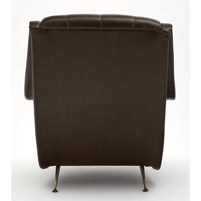 Gold Vintage French Modernist Brown Vinyl Armchairs - a Pair For Sale - Image 8 of 10