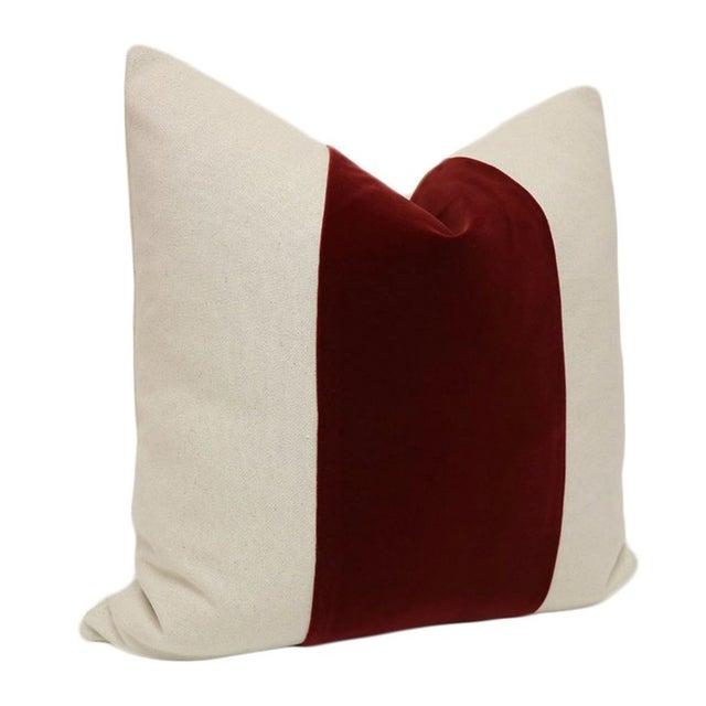 "22"" Oxblood Velvet Panel & Linen Pillows - A Pair - Image 3 of 4"