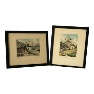 Pair of Hand Colored Etchings the Matterhorn by Lindy For Sale