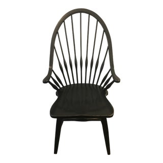 French Country Kitchen Black Wooden Arm Chair