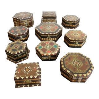 A Collection of Ten Vintage Spanish Taracea Inlaid Boxes For Sale