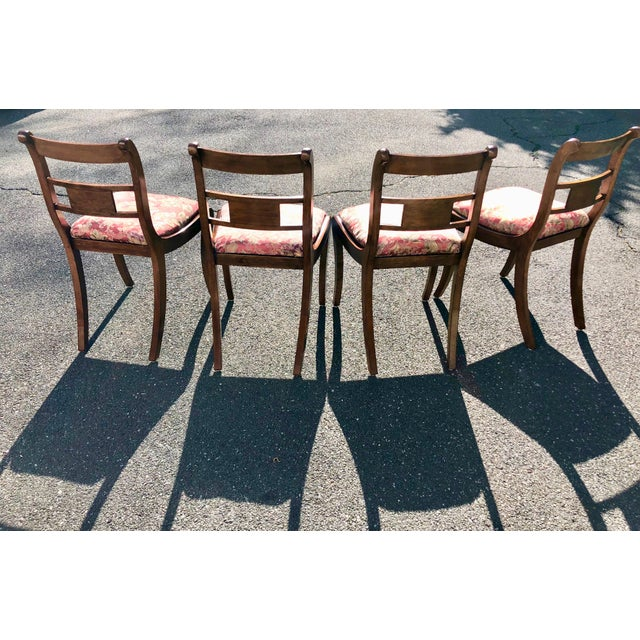 1920s Vintage English Regency Style Brass Inlaid Dining Chairs- Set of 4 For Sale In New York - Image 6 of 13