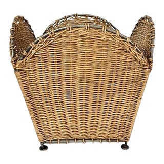 Vintage Woven Wicker & Steel Trash Basket For Sale