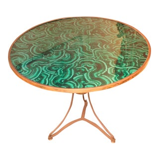 20th Century Regency Faux Painted Malachite Table For Sale