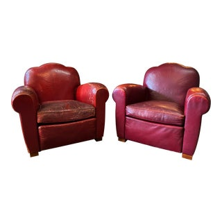 1940s Vintage French Camelback Art Deco Leather Club Chairs- A Pair For Sale